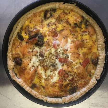 East Sussex, UK : Salmon and brie quiche