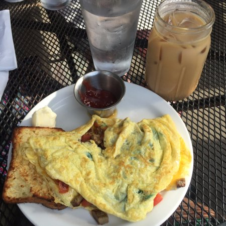 Frothy Monkey: Omelet with gluten free toast and Coconut Cream Latte