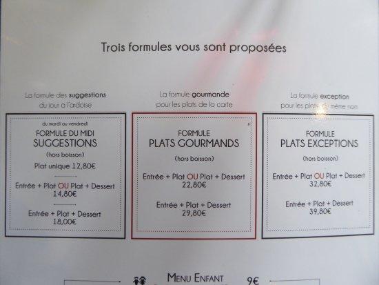 Rambouillet, Fransa: Les formules proposées