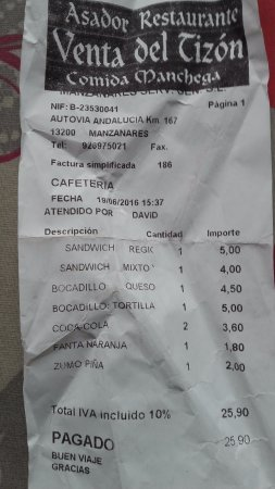 Manzanares, Spain: factura