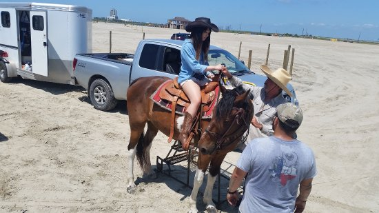 Galveston Island, TX: Getting some instructions before the ride.