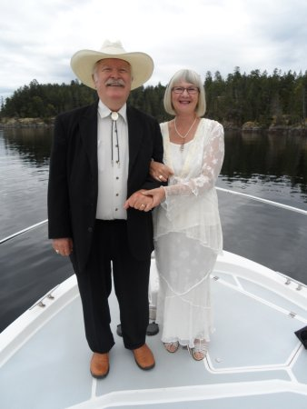 Celebrating 10 year anniversary on a dinner cruise out of Lund, BC on Pristine Charters.