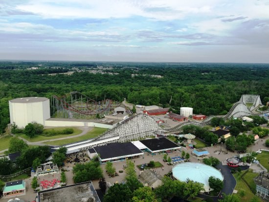 Kings Island: Ariel view of Flight of Fear indoor roller coaster, Night Hawk and American Racer dual roller co