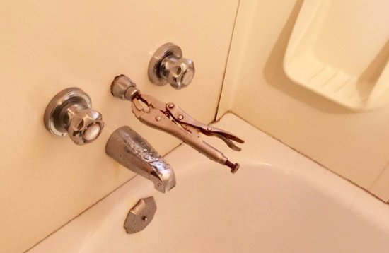 "Trailhead Resort: Vice grip pliers to ""hold"" shower function into place. Mold. Dirty. Smelly."