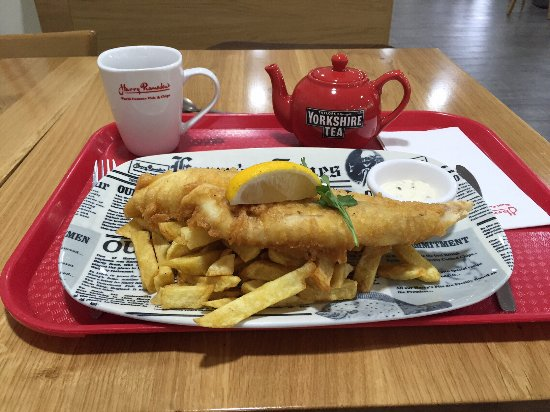 Ashorne, UK: Harry Ramsden's cod and chips, with tea £10.34 (June 2016)