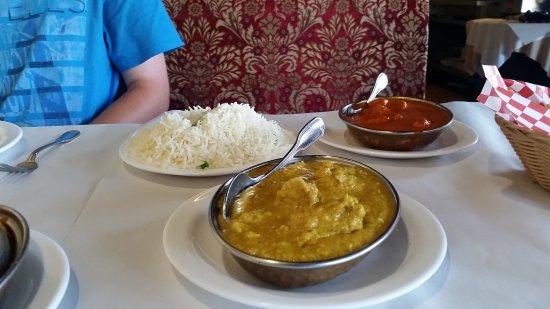 Shehnai Restaurant: rice, chicken dansak, butter chicken