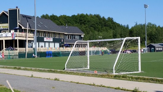 New England Sports Park: Crossbar Grill exterior overlooking the soccer field.