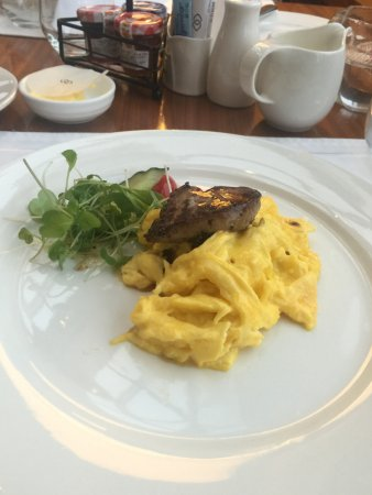Truffle eggs with foie gras.