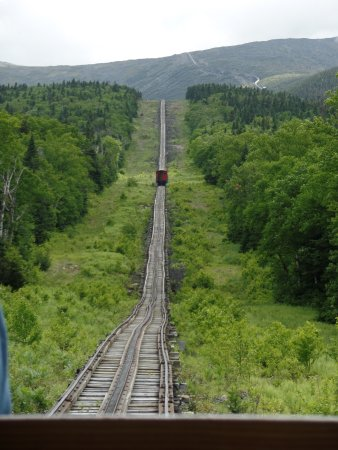 The Mount Washington Cog Railway: This goes up to the very top of the mountain. You can see the track all the way up.