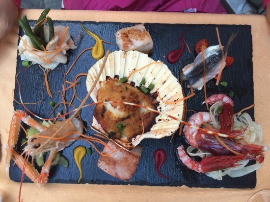 Mosaico di pesci e crostacei pour Madema et Rizzotto zucca tonno pour moi et  verrines givrées o