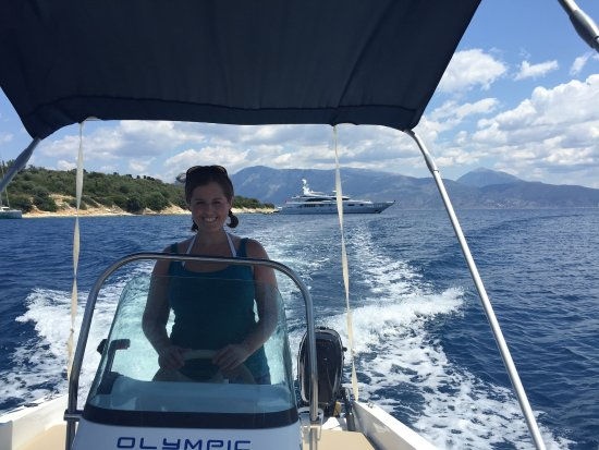 Out on the water with one of the boats rented from Sivota Boat Rentals