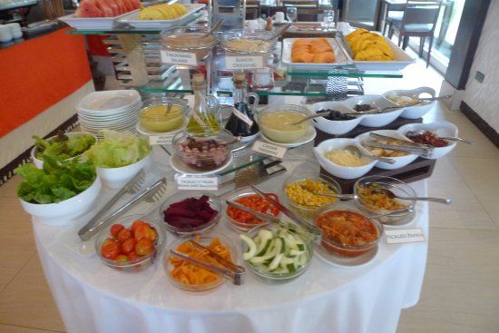 The District Boracay: Breakfast spread - salad and fruits