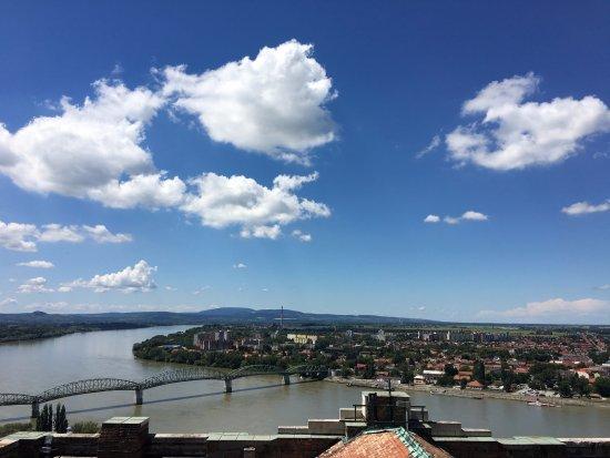 Esztergom Basilica / Cathedral: View from the top of the Esztergom Basilica - toward Sturovo