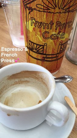 Front Porch Cafe: French press, espresso shot, ham egg cheese croissant, and cinnamon roll.  Coffee was good.  Nic