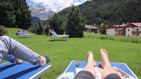 Sunbathing outside Hotel Bellevue