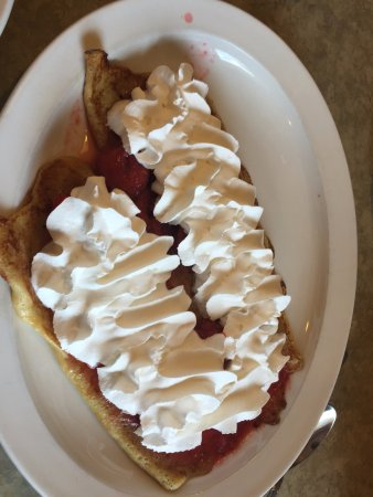 Caledonia, IL: French Crepes with strawberries and whip cream at Boone County Family Restaurants