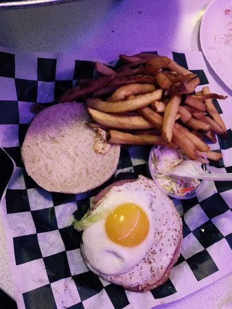 Route 66: Super delicious!! T-BIRD - Cheeseburger topped with Porkroll and Fried Egg