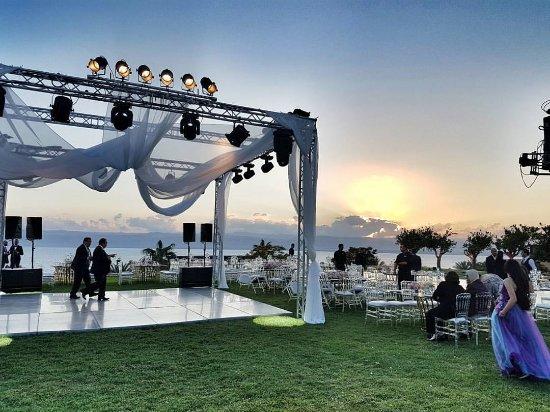 Kempinski Hotel Ishtar Dead Sea: A friend's wedding setup at the Lemon Garden