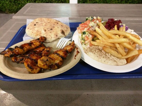 Falafel STOP: Grilled chicken breast tenders- on a plate...! a definite try for meat lovers :)