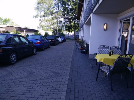 Hotel an der Nordschleife: View from our patio to the track access at the bottom..