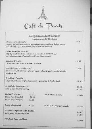 Cafe De Paris Monaco Menu