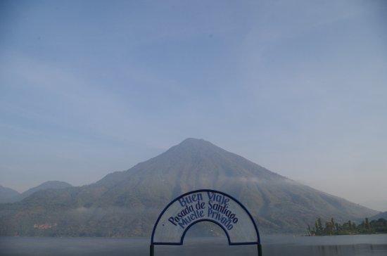 Posada de Santiago: Veiw of volcano San Pedro from dock.