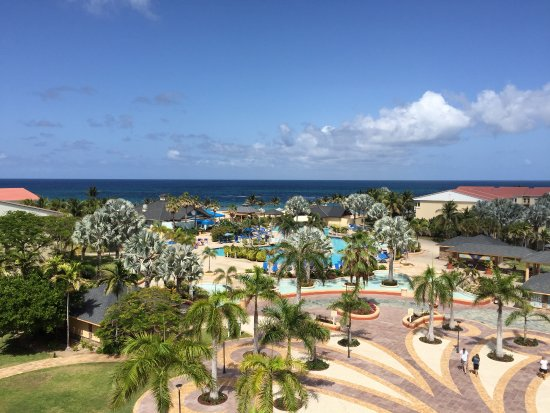 St. Kitts Marriott Resort & The Royal Beach Casino: View of the mail pool and ocean our 4th floor balcony