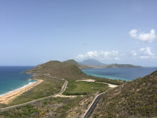 St. Kitts Marriott Resort & The Royal Beach Casino: The view from Timothy Hill looking South- Caribbean Sea (right) and Atlantic Ocean (left)