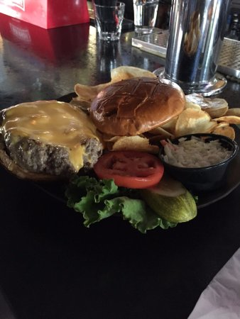 Cary, IL: My wifes cheese burger! So much to eat!