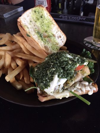 Cary, IL: My Caprese chicken breast with a garlic pesto. EXCELLENT