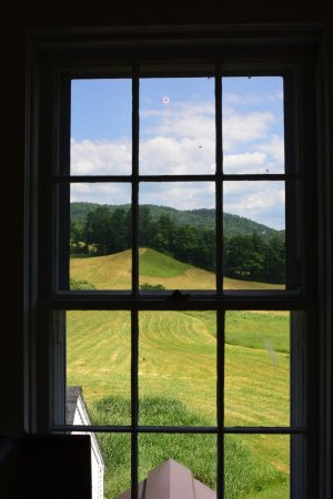 Plymouth, VT: Farm land from the second floor of the cheese factory