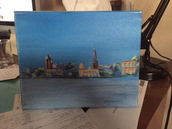 Greater Good Gallery : painting of New Bern shoreline by Lisa Bisbee Lentz