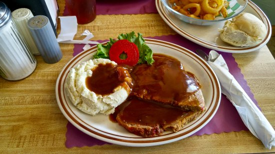 Randolph, NY: Meatloaf with mashed potatoes and gravy.