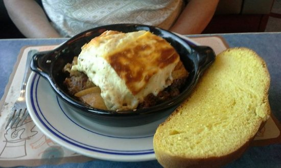 Newtown, CT: moussaka and challah. lightest bechamel, perfectly cooked potatoes base and flavorful ground mea