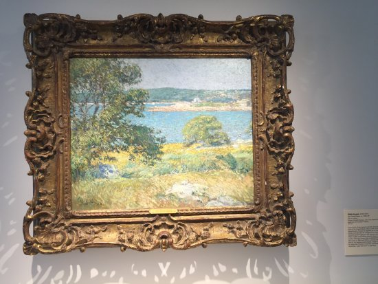 Old Lyme, CT: Inside the Florence Griswold, painting depicts the rivers edge.