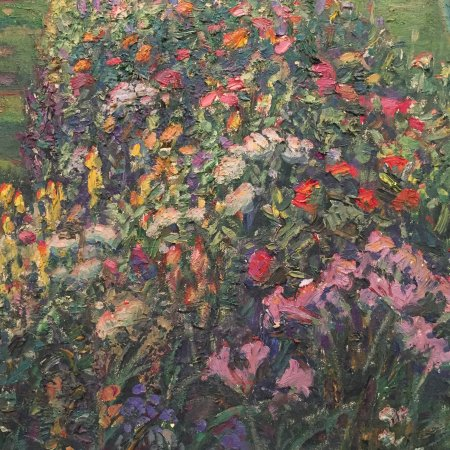 Old Lyme, CT: impressionist painting at Florence Griswold of the gardens