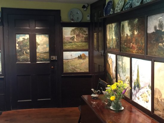 Old Lyme, CT: Inside the kitchen of Florence Griswold. The artists painted panels that were inset into the wal