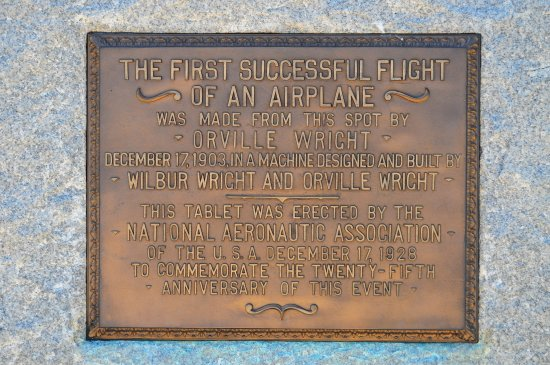 "Wright Brothers National Memorial: Plaque on flight line at beginning of ""runway"""