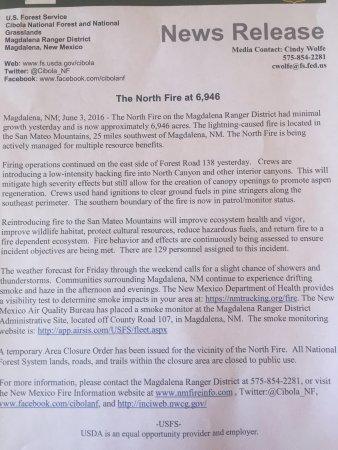 Magdalena, NM: Forest Fire Updates