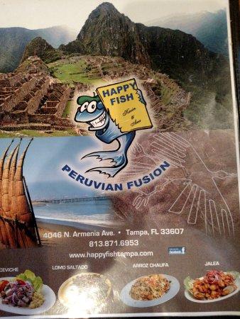 Menu Picture Of Happy Fish Tampa TripAdvisor - Machu picchu tampa