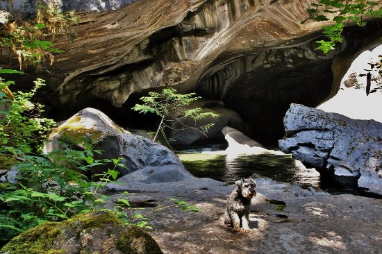 """Zeballos, كندا: A scene from the """"natural bridge"""" area... water level and flow rate can really vary."""