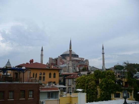 Gul Sultan Hotel: A view from our terrace to Hagia Sophia