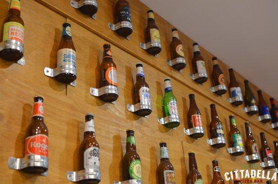 Beer Wall Display At Cittadella Pizza Bar