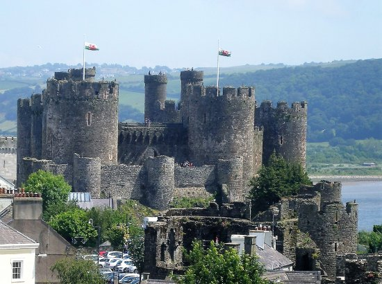 View of the majestic medieval Conwy Castle from the castle walk