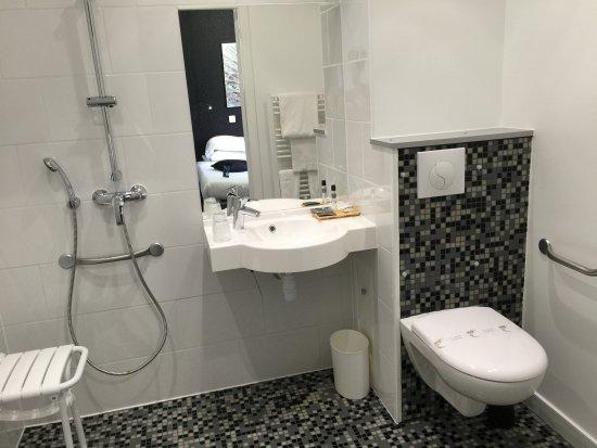 Hotel Restaurant Baryton : salle de bain PMR