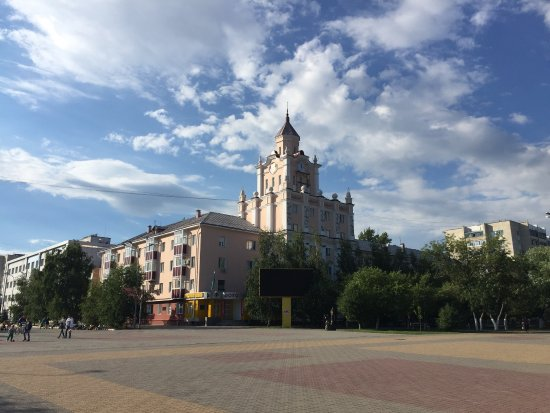 Kostanay, Kazachstan: Clock tower in summer