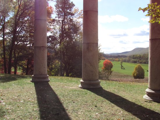 New Windsor, NY: View through the columns overlooking the main field gives some sense of the expanse of the site.