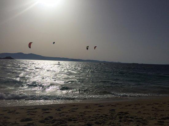 Flisvos Kite Center: Kite surfing as the sun sets on Orkos Bech, Mikri Vigla, Naxos