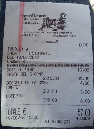 San Nicola, Italia: Scontrino