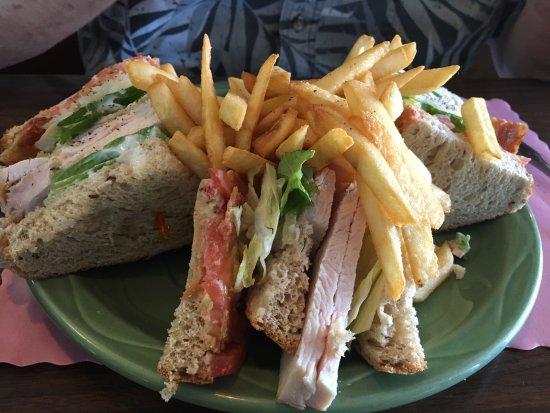 West Boylston, MA: Delicious turkey club sandwich on rye.